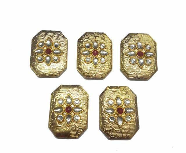 Red Octagon Shaped Gold Polished Kundan Beads 35x25 mm, 5 pcs