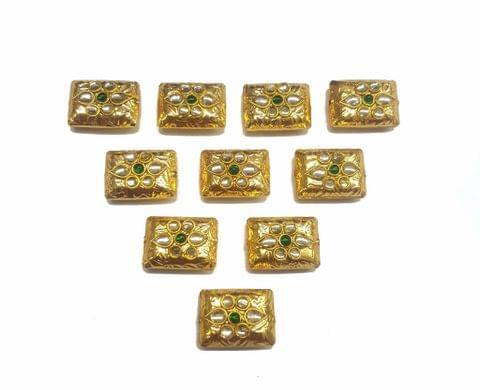 Green Rectangle Shaped Gold Polished Kundan Beads 19x14 mm, 10 pcs