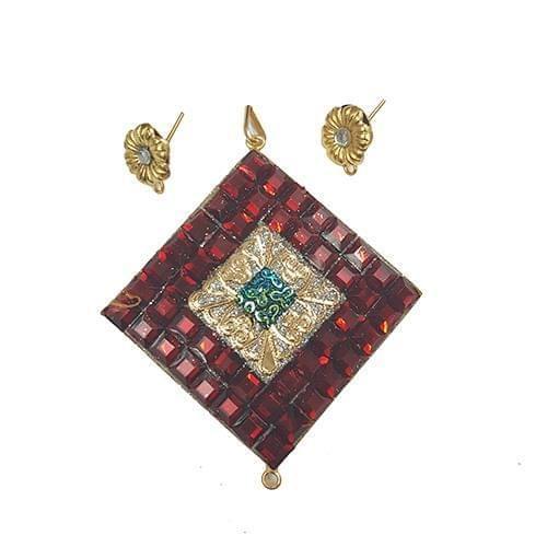 Red Blue, Takkar Pendant With Combo Earring