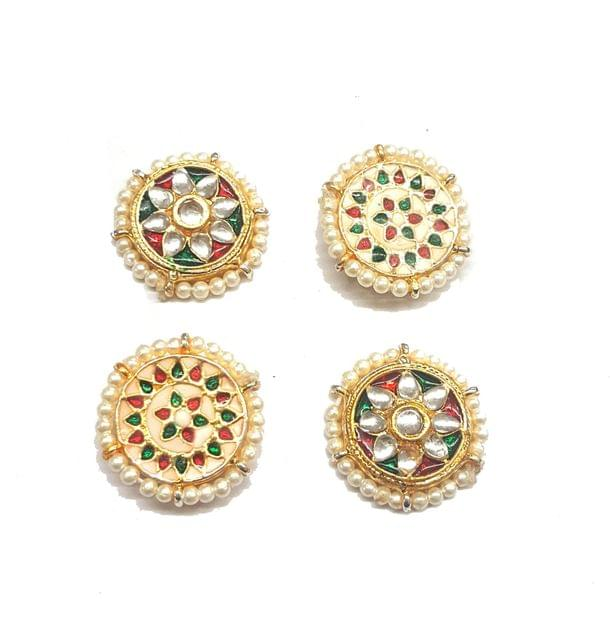 4 Pcs Kundan Connectors Golden 23 mm