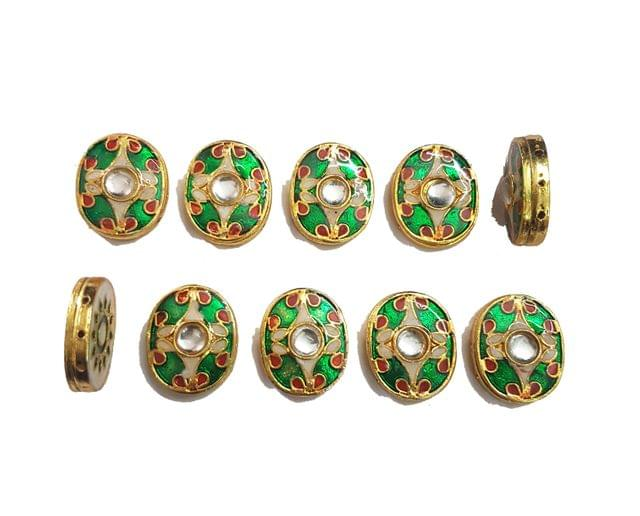 10 pcs Green Color Oval Shape Spacers 23x19mm