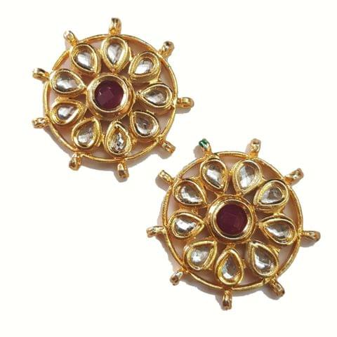 2-pcs-Kundan Beads Golden Spacers 37x37mm