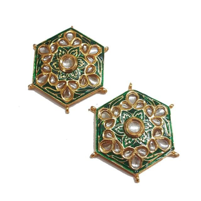 2-pcs-Kundan Beads Golden Spacers 44x34mm