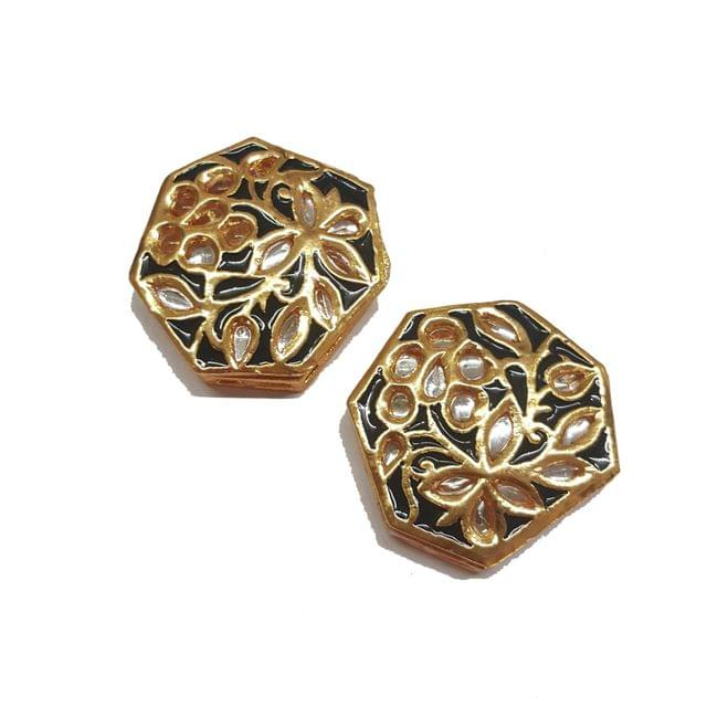 2-pcs-Kundan Bead Golden Spacers 33x32mm