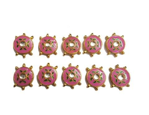 10 pcs Pink Color Round Shape Spacers 27x20mm
