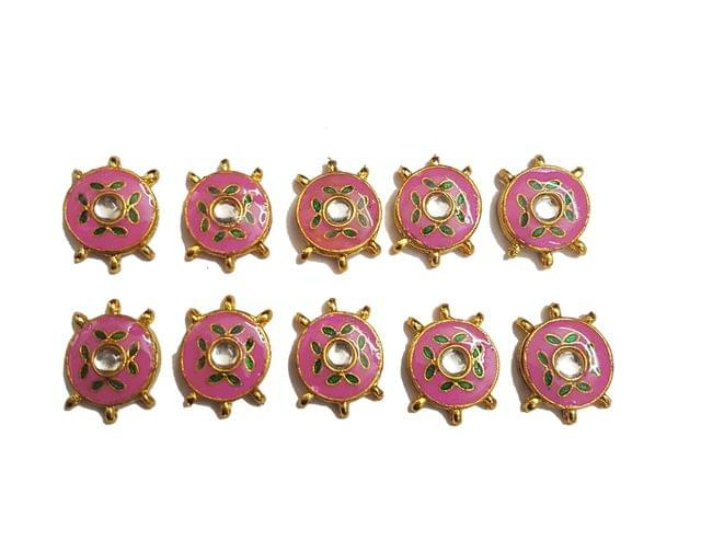 10 pcs Pink Color Round Shape Spacers 27x20mm