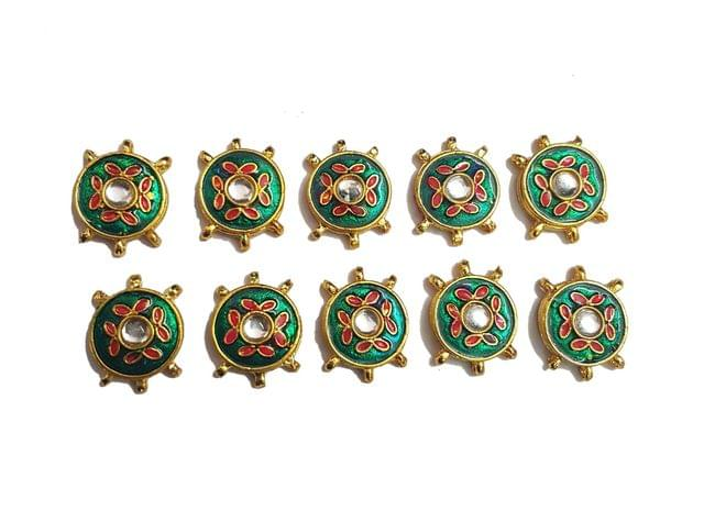 10 pcs Green Color Round Shape Spacers 27x20mm