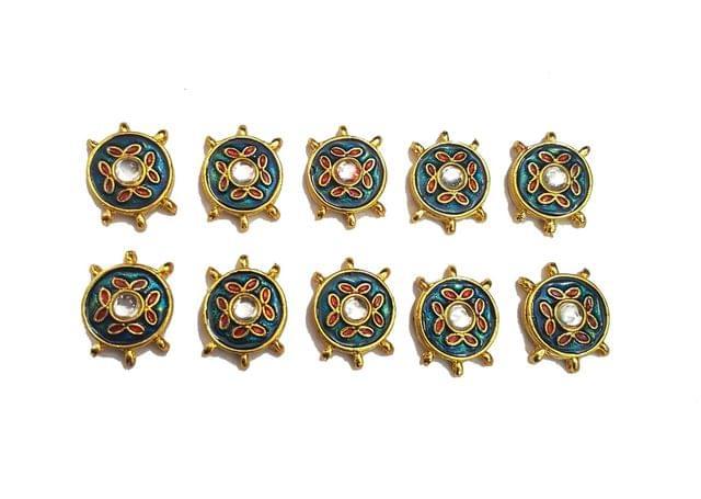 10 pcs Dark Blue Color Round Shape Spacers 27x20mm