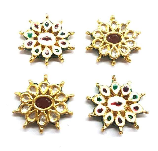 4 pcs, Kundan Beads Golden Spacers, 33x30 mm