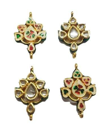 4 pcs, Kundan Beads Golden Spacers, 35x24 mm