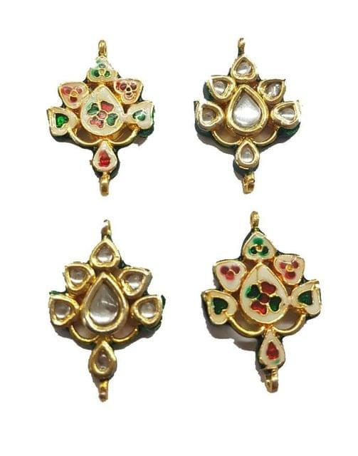 4 pcs, Kundan Beads Golden Spacers, 35x24 mm