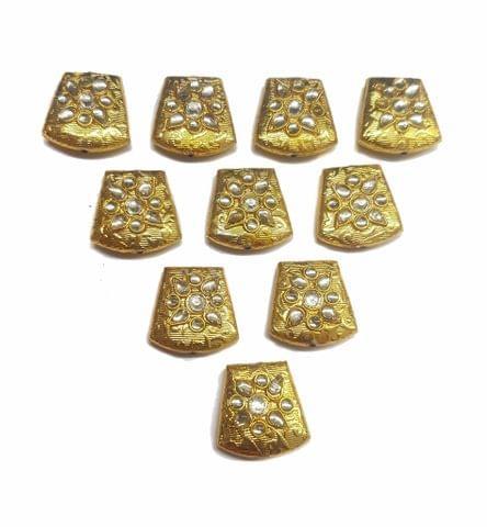 Gold Polished Kundan Beads 21x19 mm, 5 pcs