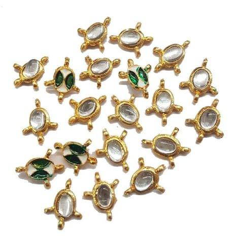 20 pcs, Kundan Beads Golden Spacers, 16x13 mm