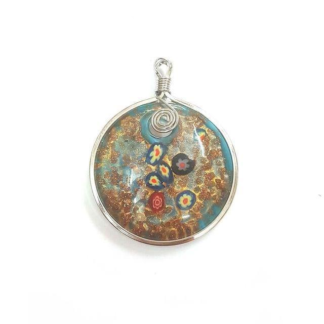 KTC, Multi Coloured Designer Glass Pendant, 2.5 Inch