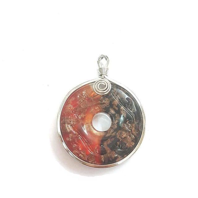 Multi Coloured Designer Glass Pendant, 2.5 Inch