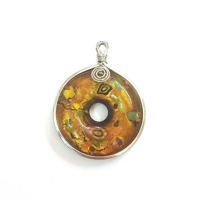 KTC, Multi Coloured Designer Glass Pendant, 2.5 Inch