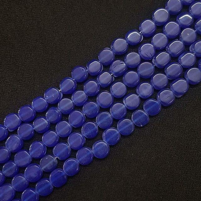 8mm, Dark Blue Flat Round Shape Beads, 4 Strings, 40+ Beads In Each String, 15 Inches