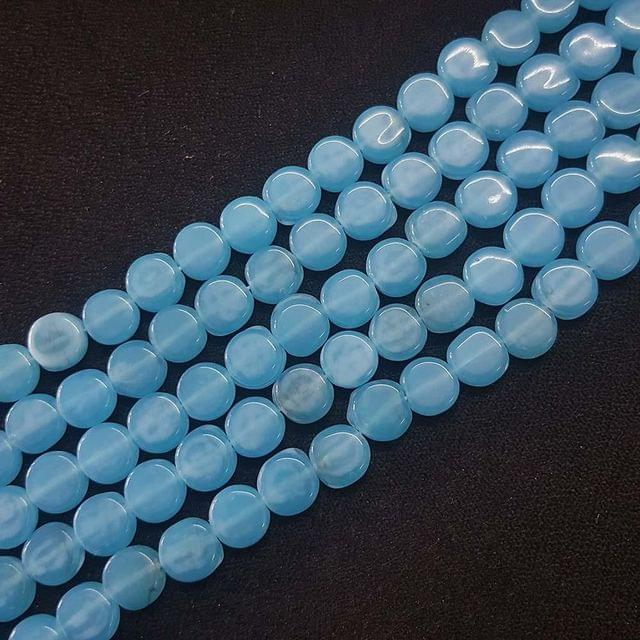 8mm, Blue Flat Round Shape Beads, 4 Strings, 40+ Beads In Each String, 15 Inches