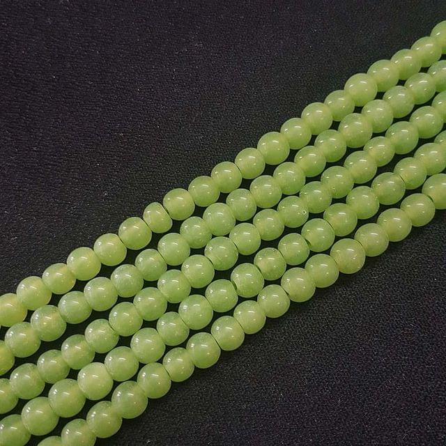 6mm, Parrot Green Round Shape Beads, 4 Strings, 68+ Beads In Each String, 15 Inches