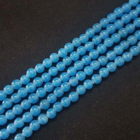 6mm, Blue Round Shape Beads, 4 Strings, 68+ Beads In Each String, 15 Inches