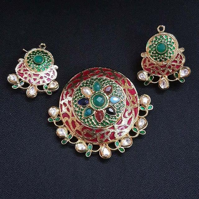 Traditional Red Navratna Round Pendant With AD Kundan, Combo Earring, Pendant- 2.5 inch, Earring- 1.75 inch