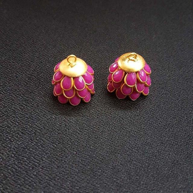 Pink, Pacchi Jhumka 16mm, 2 Pair