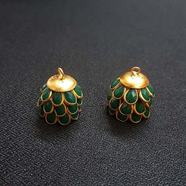 Green, Pacchi Jhumka 16mm, 2 Pair