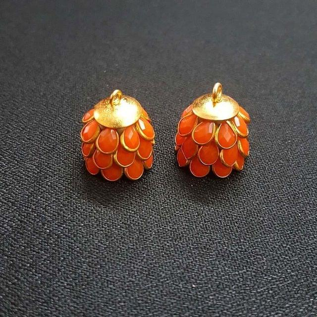 Orange, Pacchi Jhumka 16mm, 2 Pair