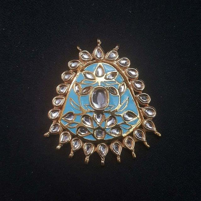 Kundan Enameled Golden Spacer, 1 pcs