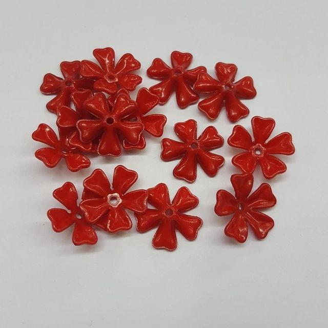 Red, Acrylic Flower 11mm, 100 pcs