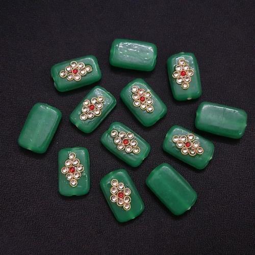 12 pieces, Green Kundan Stone Beads By KTC, 26x16 mm