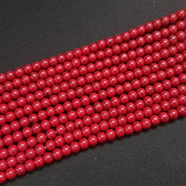 5 Lines, 6 mm Red Color Glass Beads For Jewellery Making/ 15 Inch/ 63+ Beads in Each String
