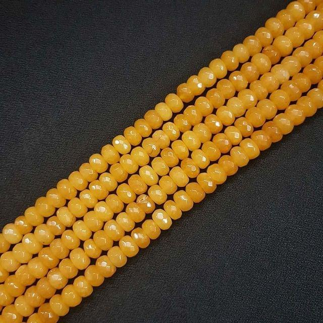 8mm, Yellow Jade Stone Strings, Pack Of 2 Lines, 15 Inches ( 72+ beads )