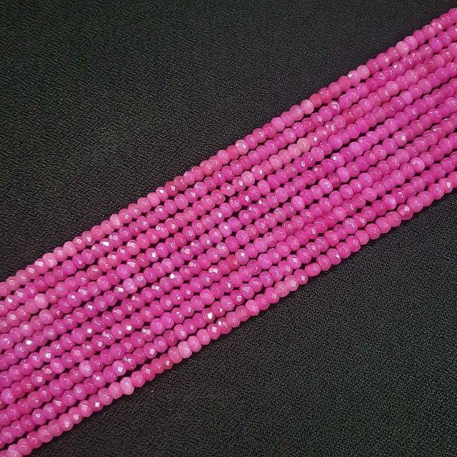 4mm, Pink Jade Stone Strings, Pack Of 2 Lines, 15 Inches ( 112+ beads )