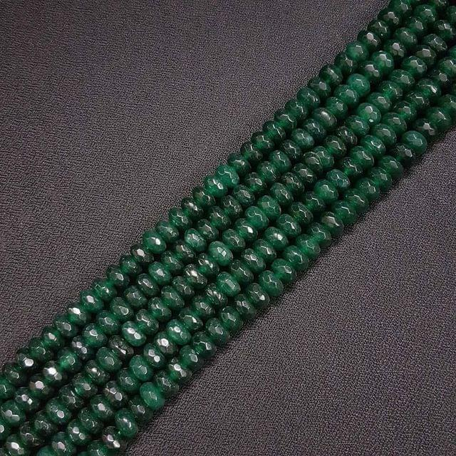 8mm, Dark Green Jade Stone Strings, Pack Of 2 Lines, 15 Inches ( 72+ beads )