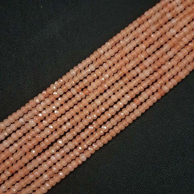 4mm, Light Brown Jade Stone Strings, Pack Of 2 Lines, 15 Inches ( 112+ beads )