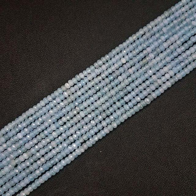 4mm, Light Blue Jade Stone Strings, Pack Of 2 Lines, 15 Inches ( 112+ beads )