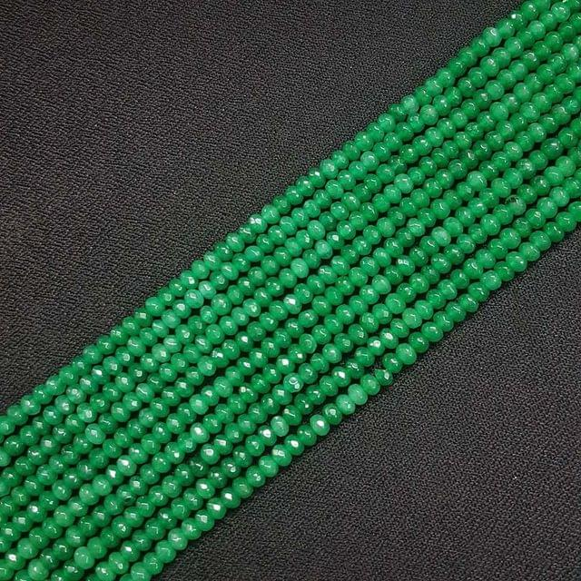 4mm, Green Jade Stone Strings, Pack Of 2 Lines, 15 Inches ( 112+ beads )