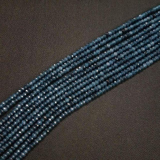 4mm, Dark Blue Jade Stone Strings, Pack Of 2 Lines, 15 Inches ( 112+ beads )