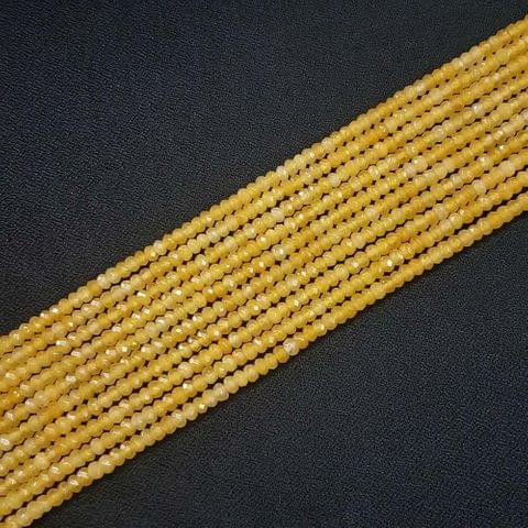 4mm, Yellow Jade Stone Strings, Pack Of 2 Lines, 15 Inches ( 112+ beads )