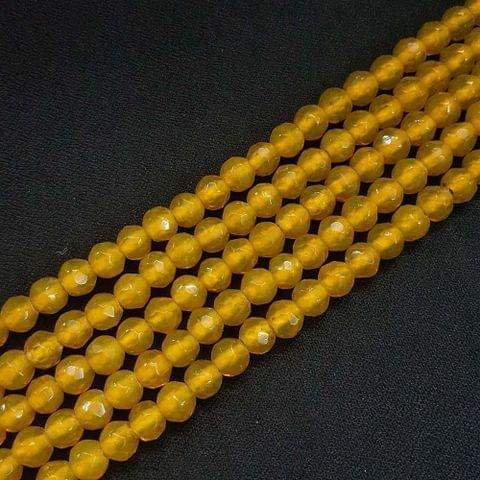 8mm Golden Jade Faceted Beads, 2 Strings, 43+ Beads In Each String