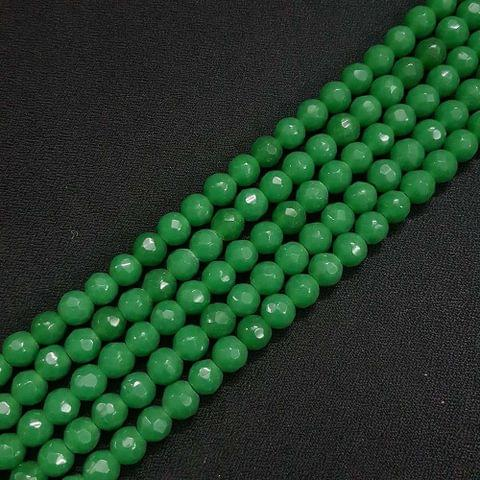 8mm Green Jade Faceted Beads, 2 Strings, 43+ Beads In Each String