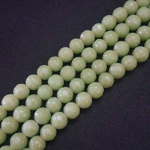 10mm Light Green Jade Faceted Beads, 2 Strings, 35+ Beads In Each String