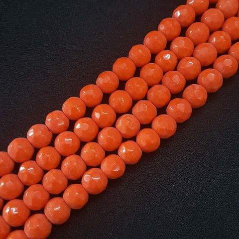10mm Orange Jade Faceted Beads, 2 Strings, 35+ Beads In Each String