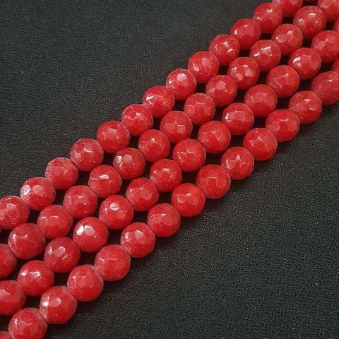 10mm Red Jade Faceted Beads, 2 Strings, 35+ Beads In Each String