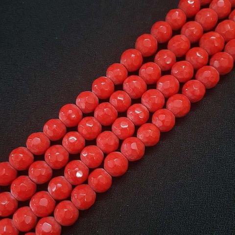 10mm Dark Red Jade Faceted Beads, 2 Strings, 35+ Beads In Each String