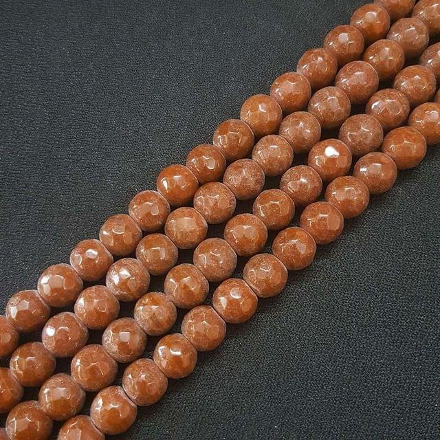 10mm Brown Jade Faceted Beads, 2 Strings, 35+ Beads In Each String