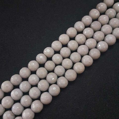 10mm Light Grey Jade Faceted Beads, 2 Strings, 35+ Beads In Each String