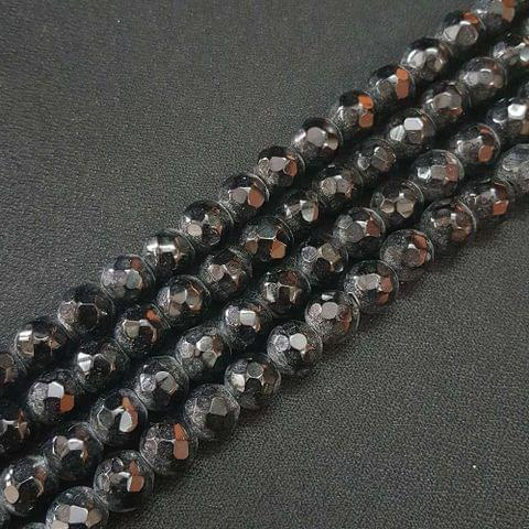 10mm Black Jade Faceted Beads, 2 Strings, 35+ Beads In Each String