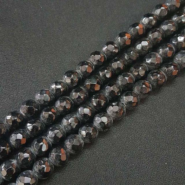 10mm Black Jade Faceted Beads, 2 Strings, 35+ Beads In Each String